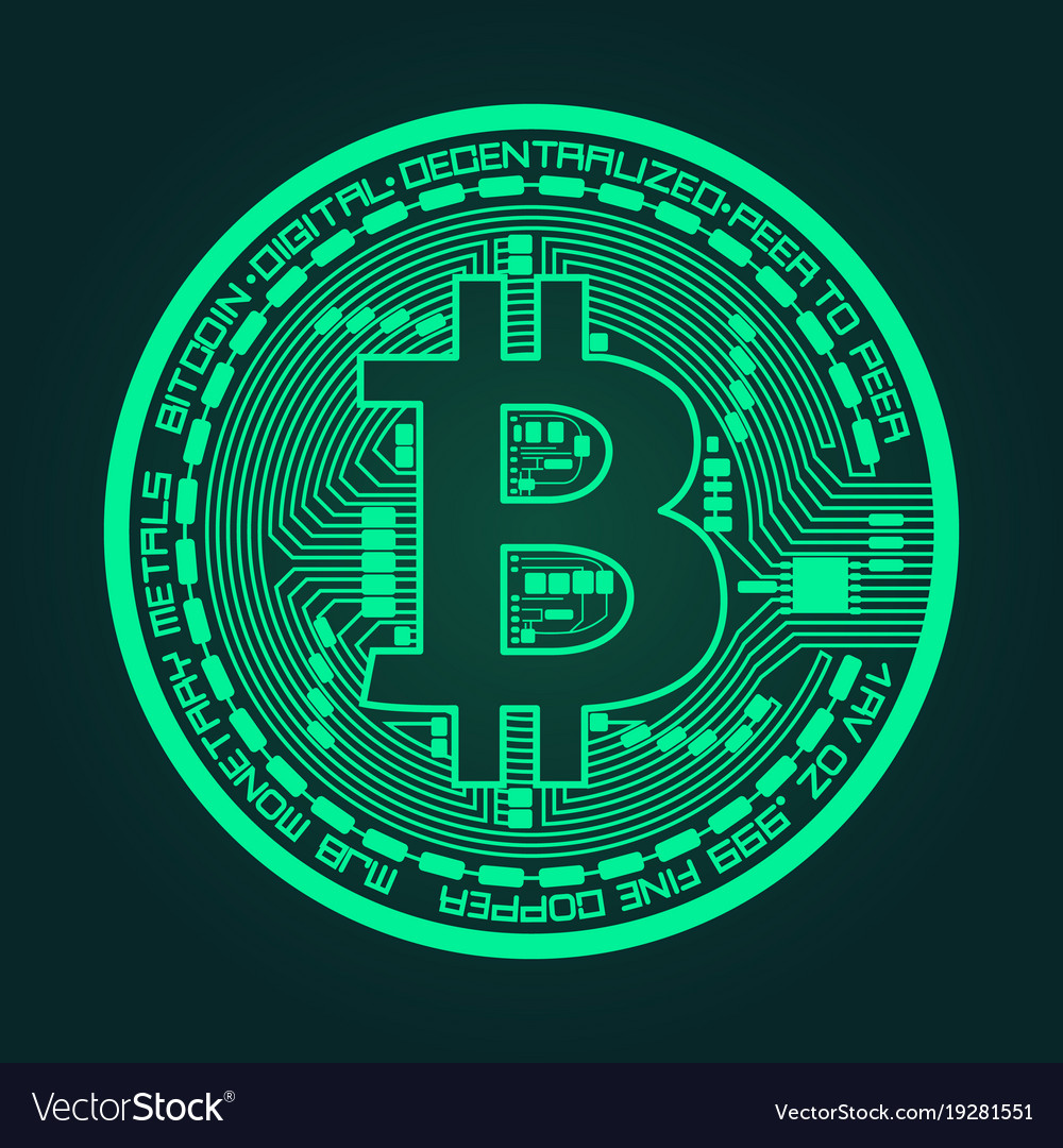 Crypto currency bitcoin in trendy green colors