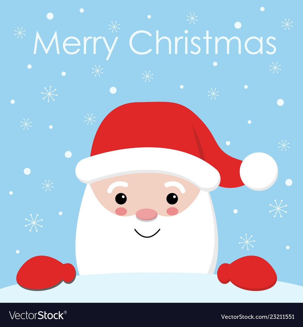 Cute cartoon christmas card with santa claus