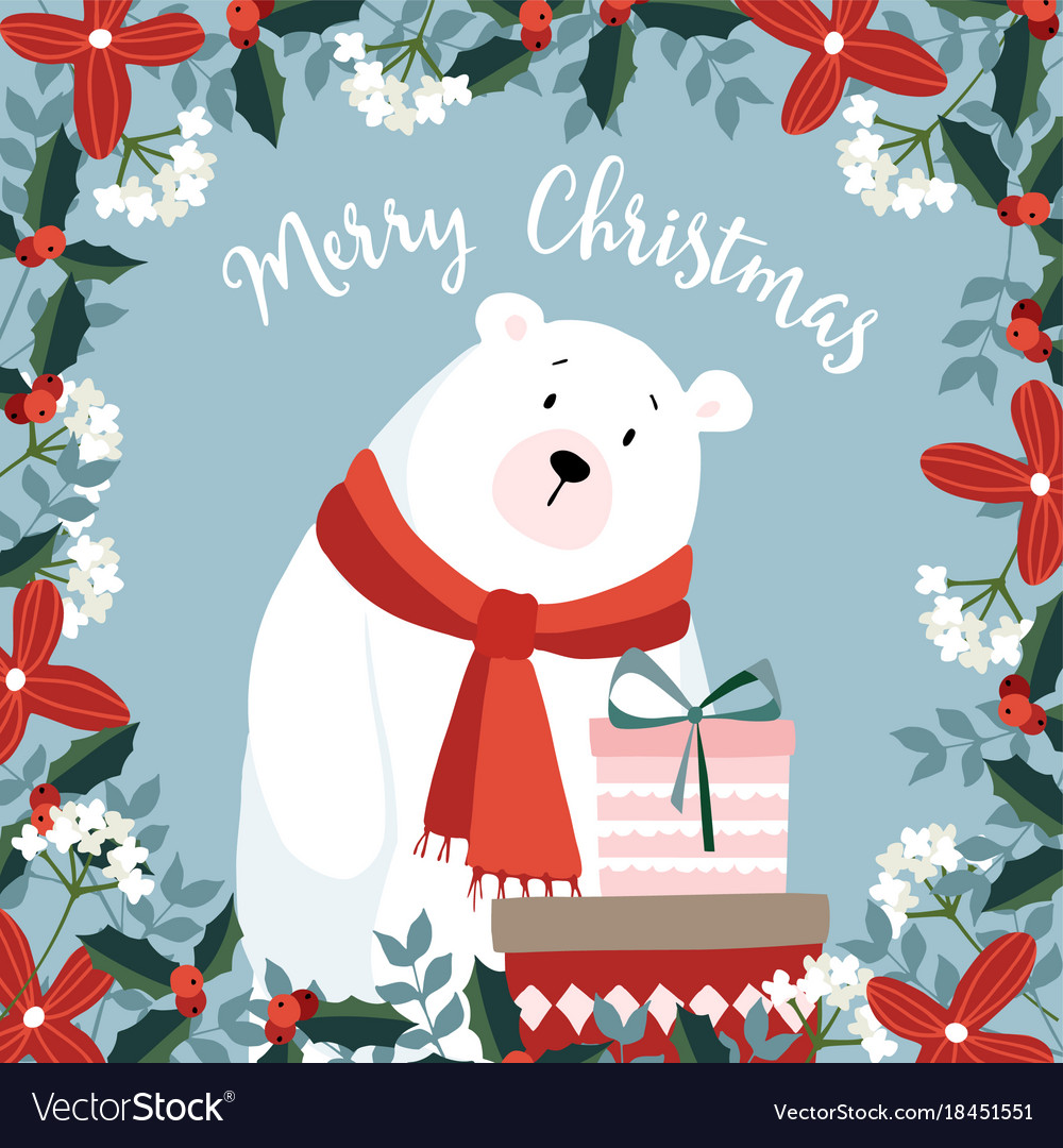 Cute christmas greeting card invitation with