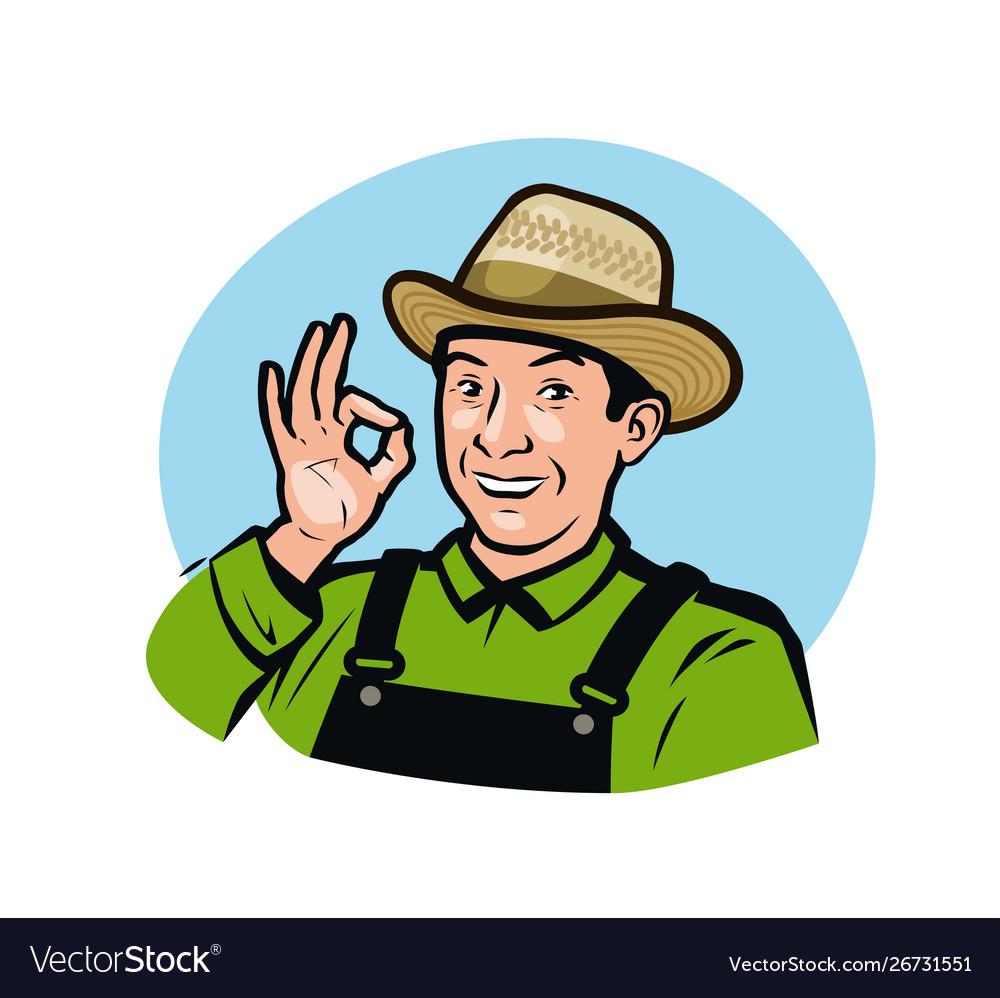 Farmer in overalls agriculture farm logo