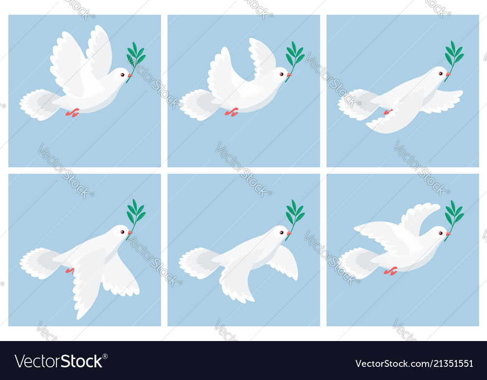 Flying white dove olive animation sprite sheet