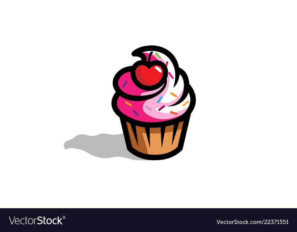 Fresh delicious cupcake with cherry logo