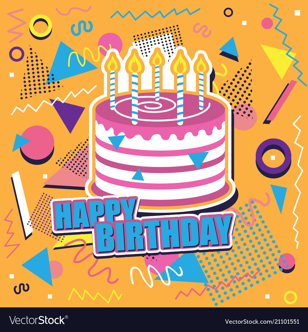 Happy Birthday Background With Cake And Abstract Vector Image