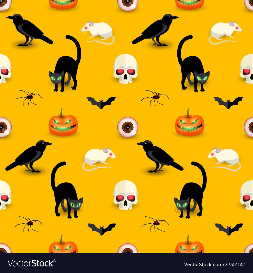 Horror halloween orange seamless pattern