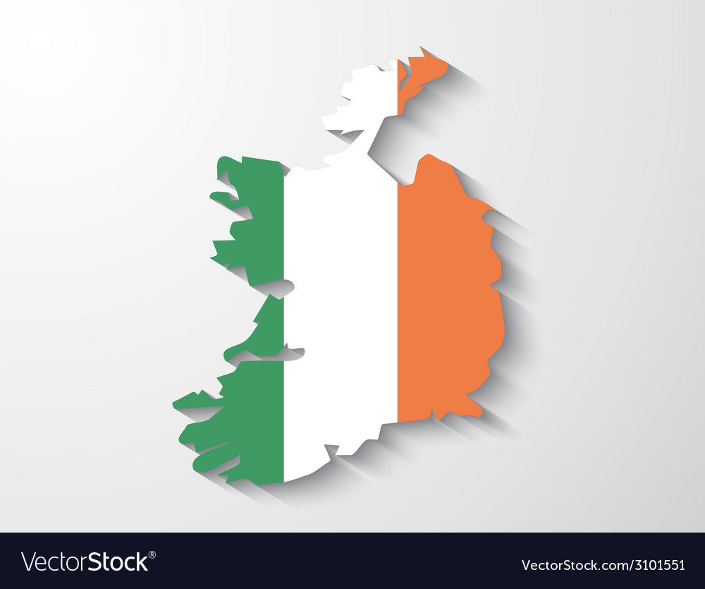 Ireland country map with shadow effect