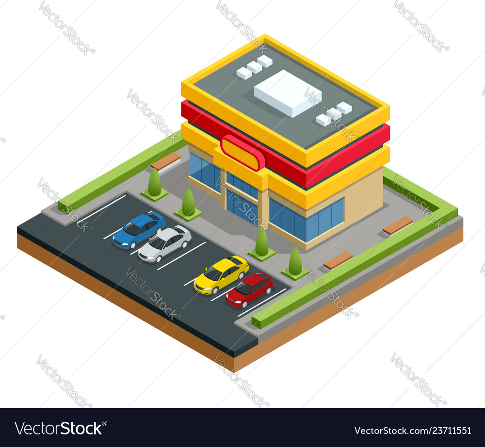 Isometric shopping mall or store parking and