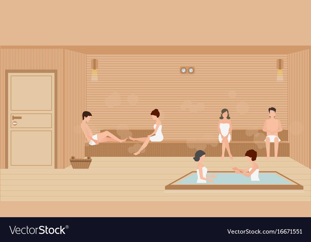 People wearing towels enjoys in sauna steam room Vector Image
