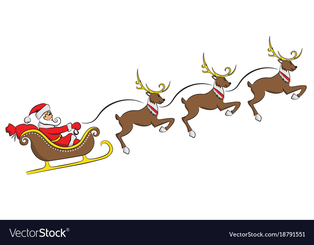 Santa claus on a sleigh with a deer isolated on