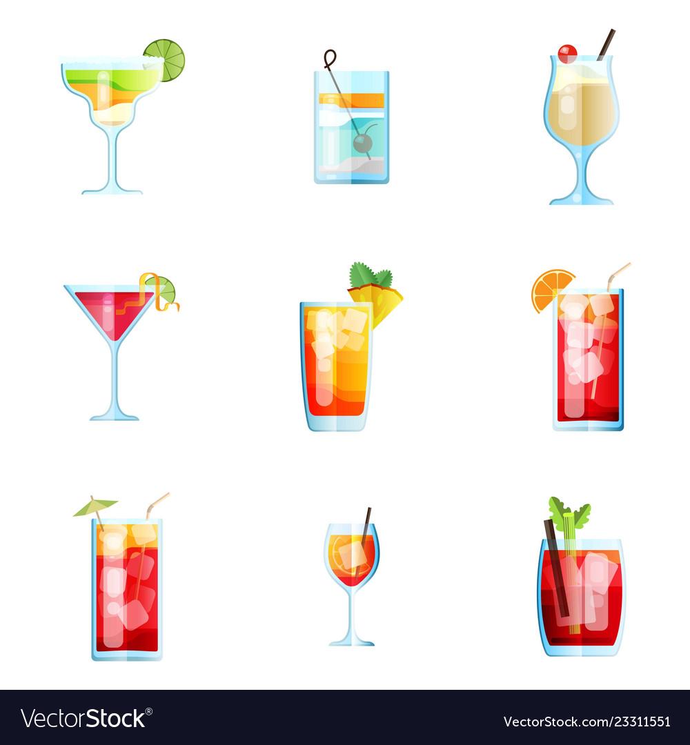 Set of nine tropical cocktails margarita tom