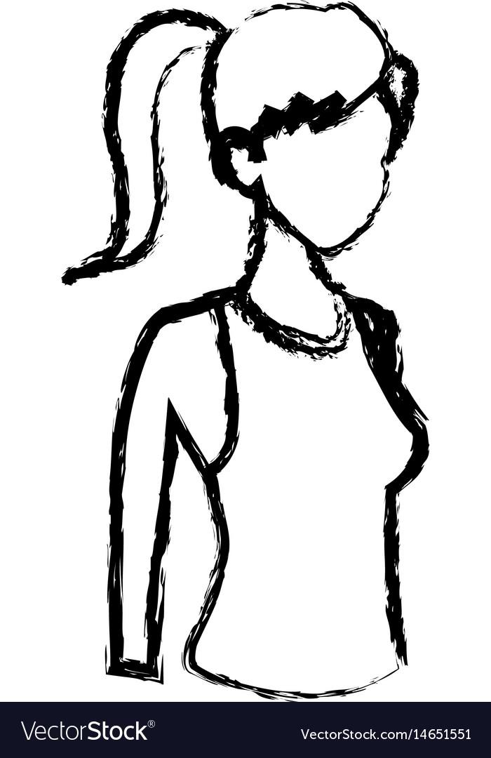 Sketch sport girl healthy lifestyle design