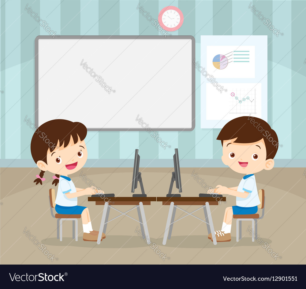 Students learning with computer
