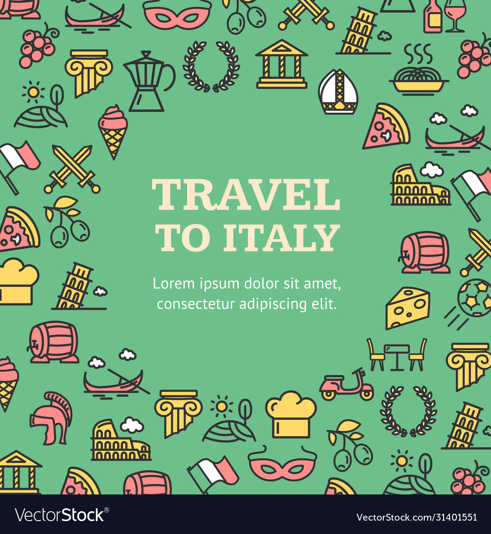 Travel to italy round design template contour