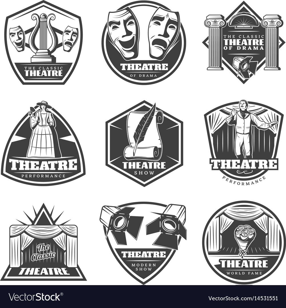 Vintage monochrome theatre labels set vector image