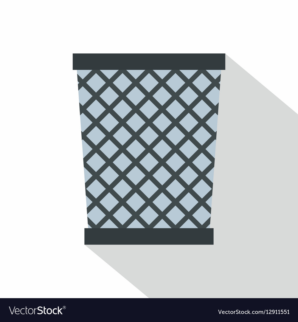 Wire metal bin icon flat style Royalty Free Vector Image