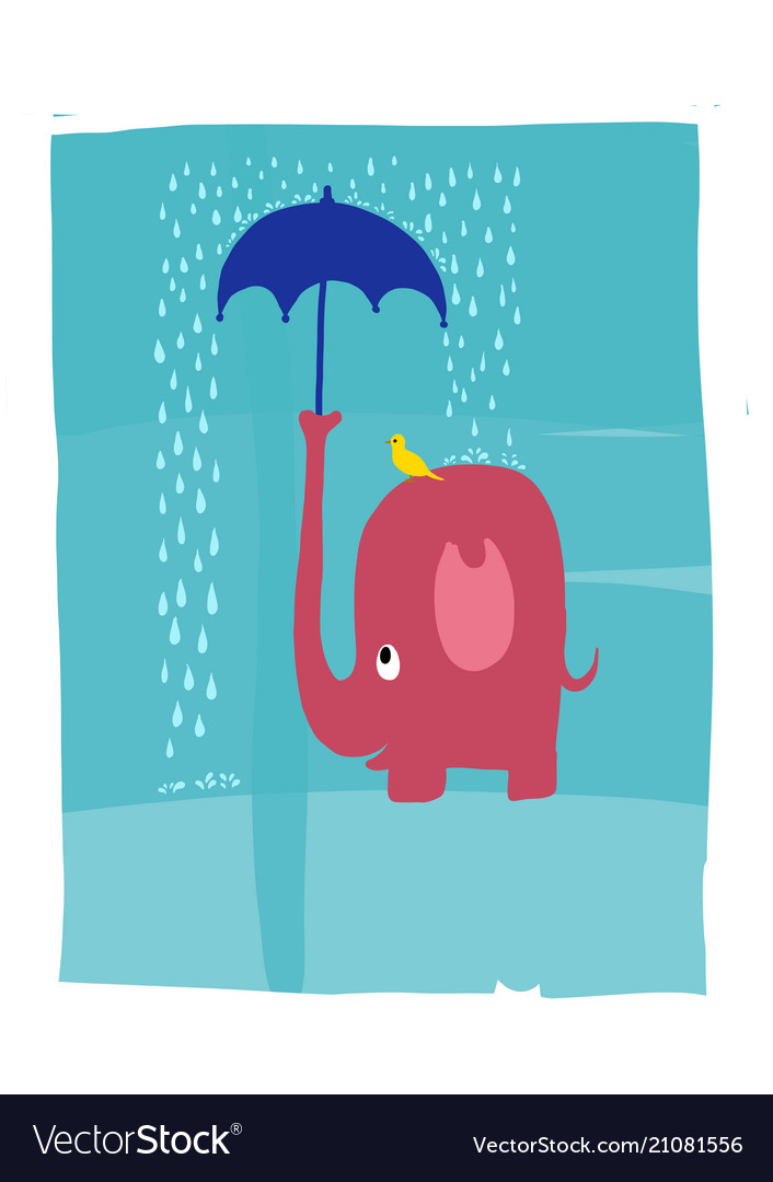 A pink elephant protecting bird from the rain