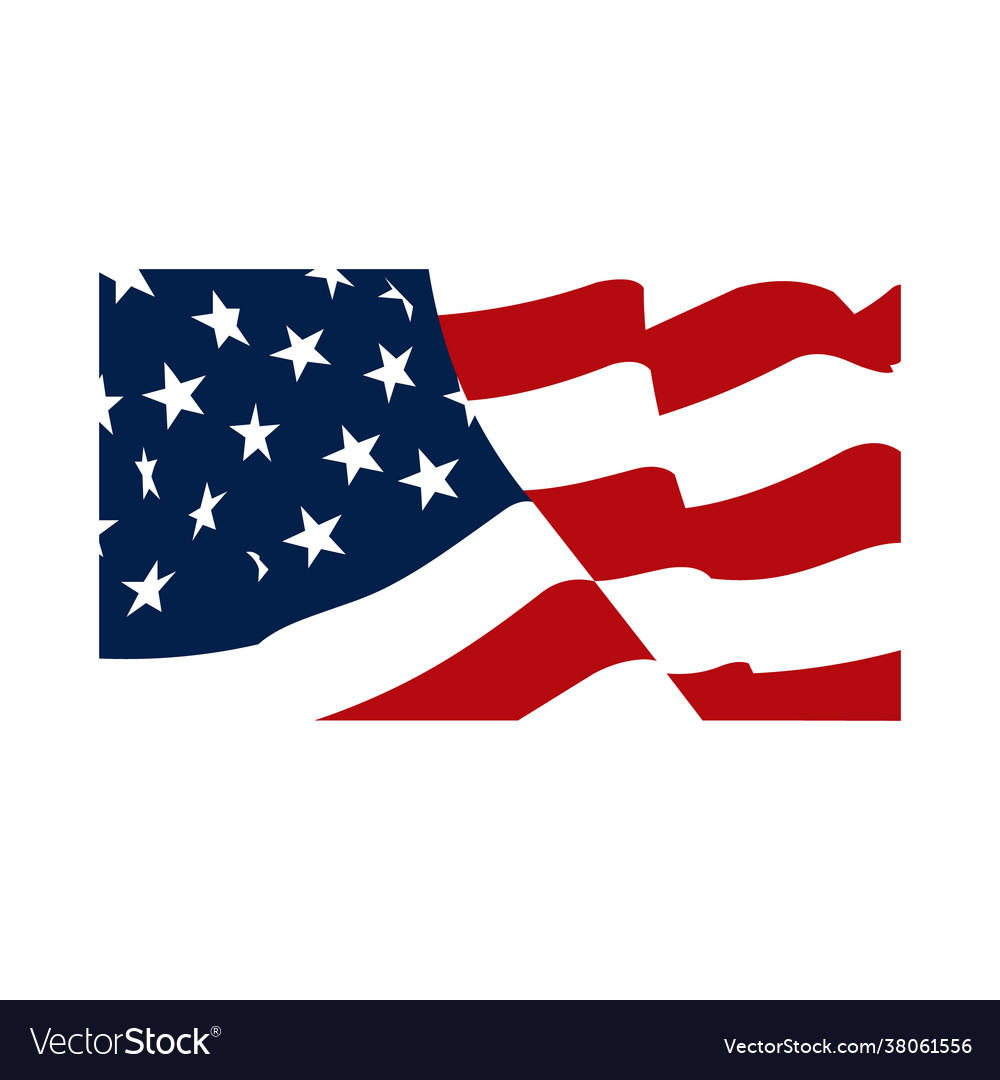 American waving flag isolated