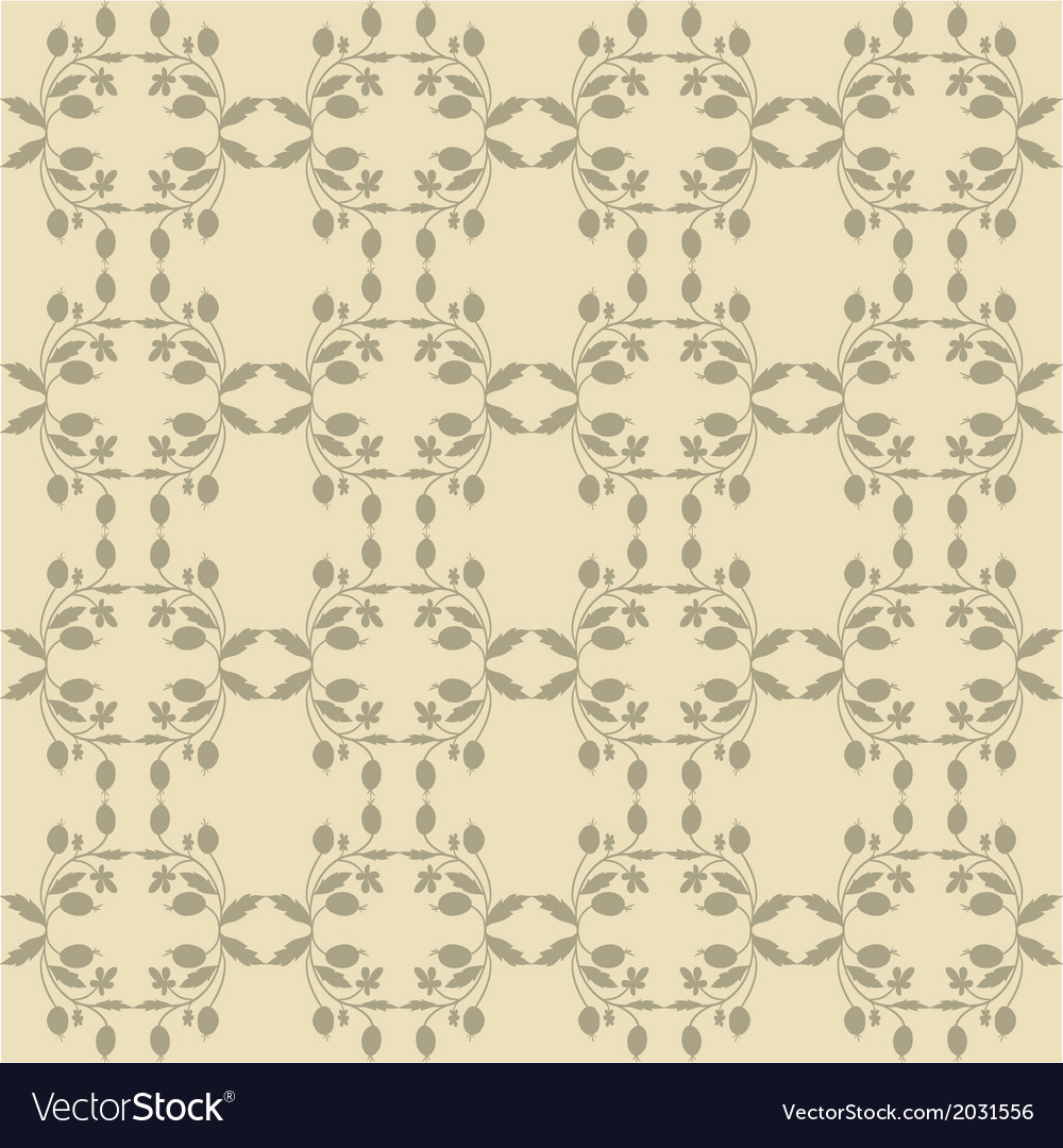 Beige Floral Wallpaper Royalty Free Vector Image
