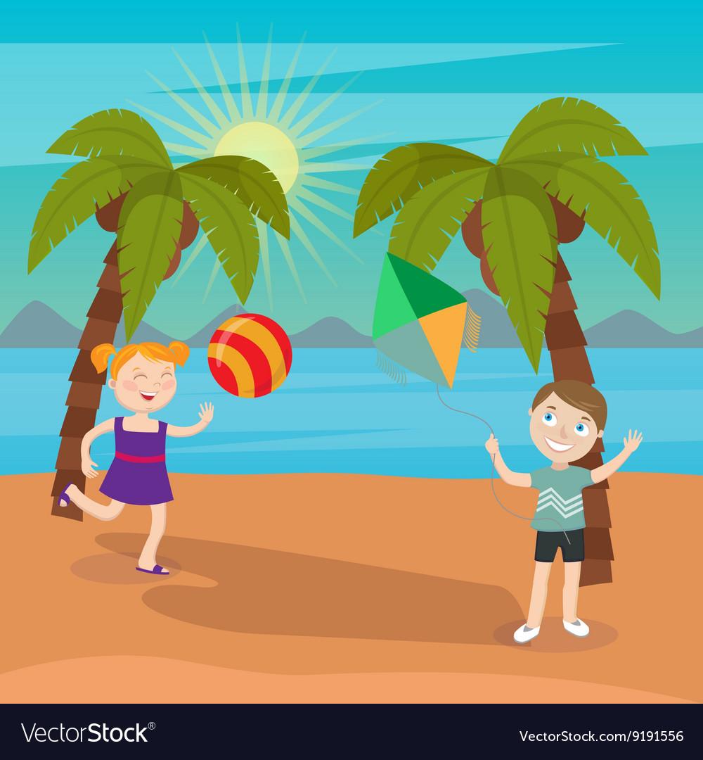 Children Sea Vacation Girl Playing Ball on Beach