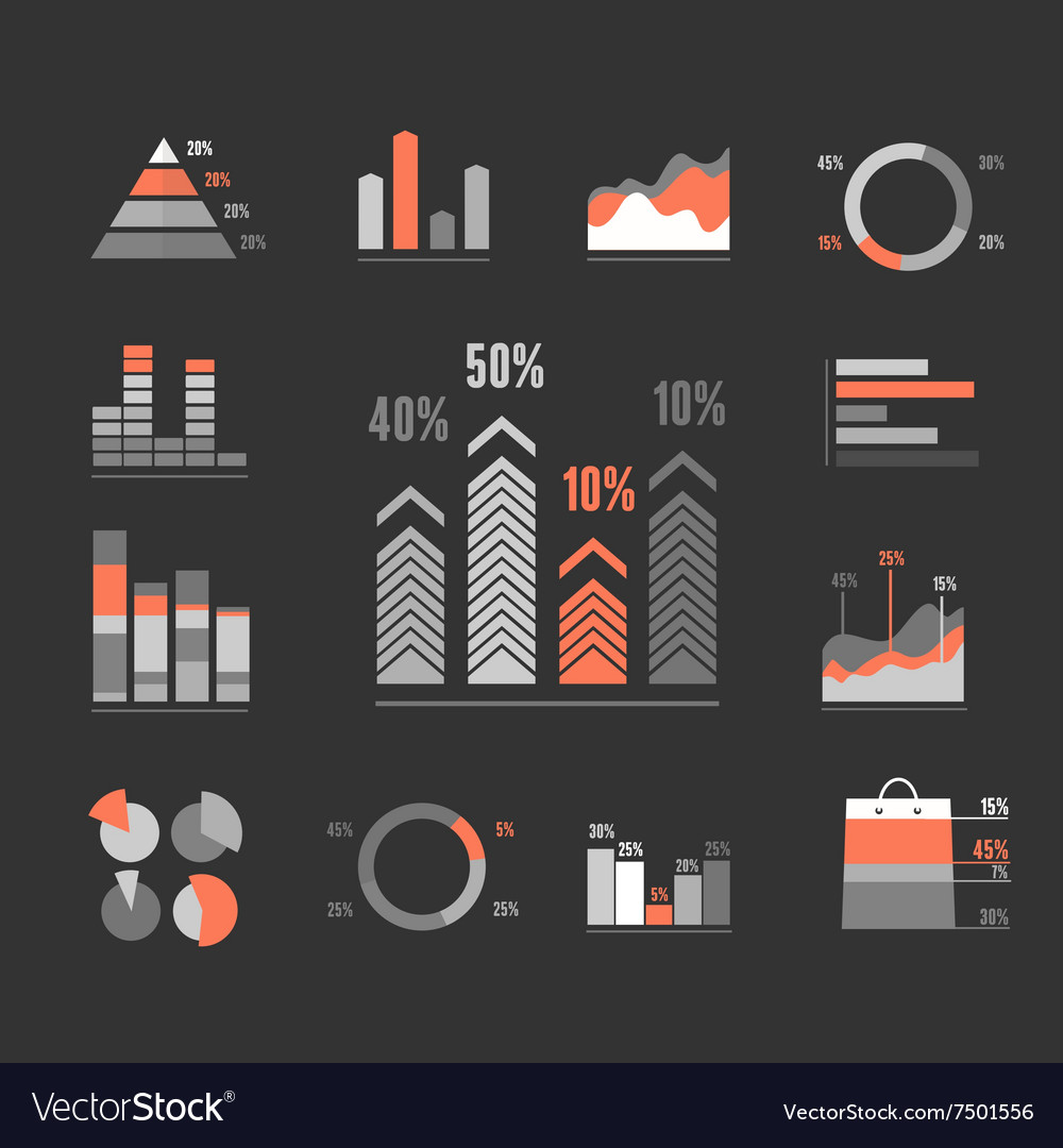 Graphs Icons Set vector image