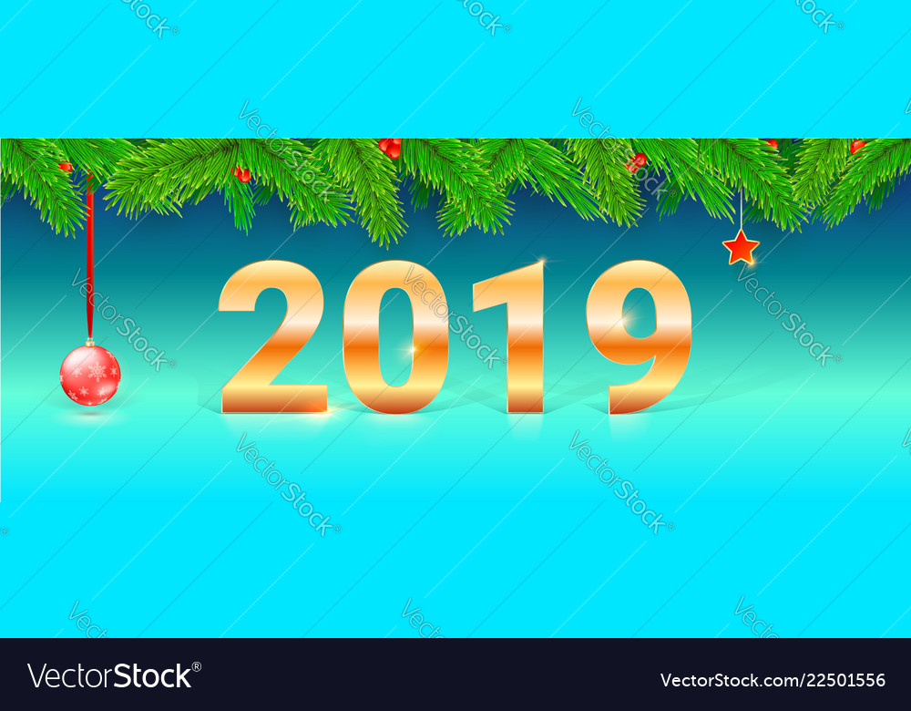 Happy new year 2019 greetings card with golden