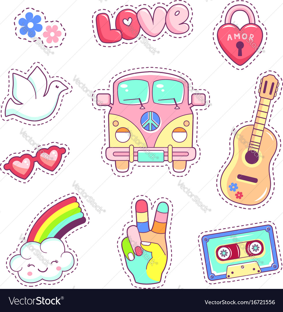 Hippie style badges patches and stickers