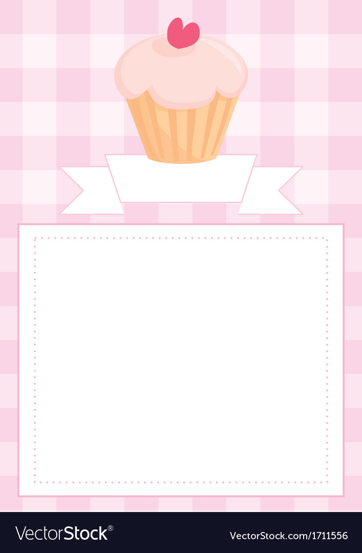 Invitation card or menu with heart cupcake