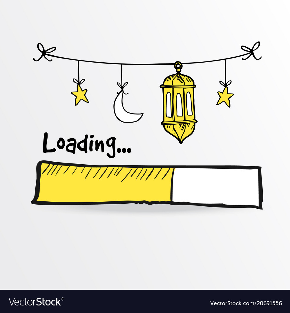 Loading bar with arabic lanterns moon and star