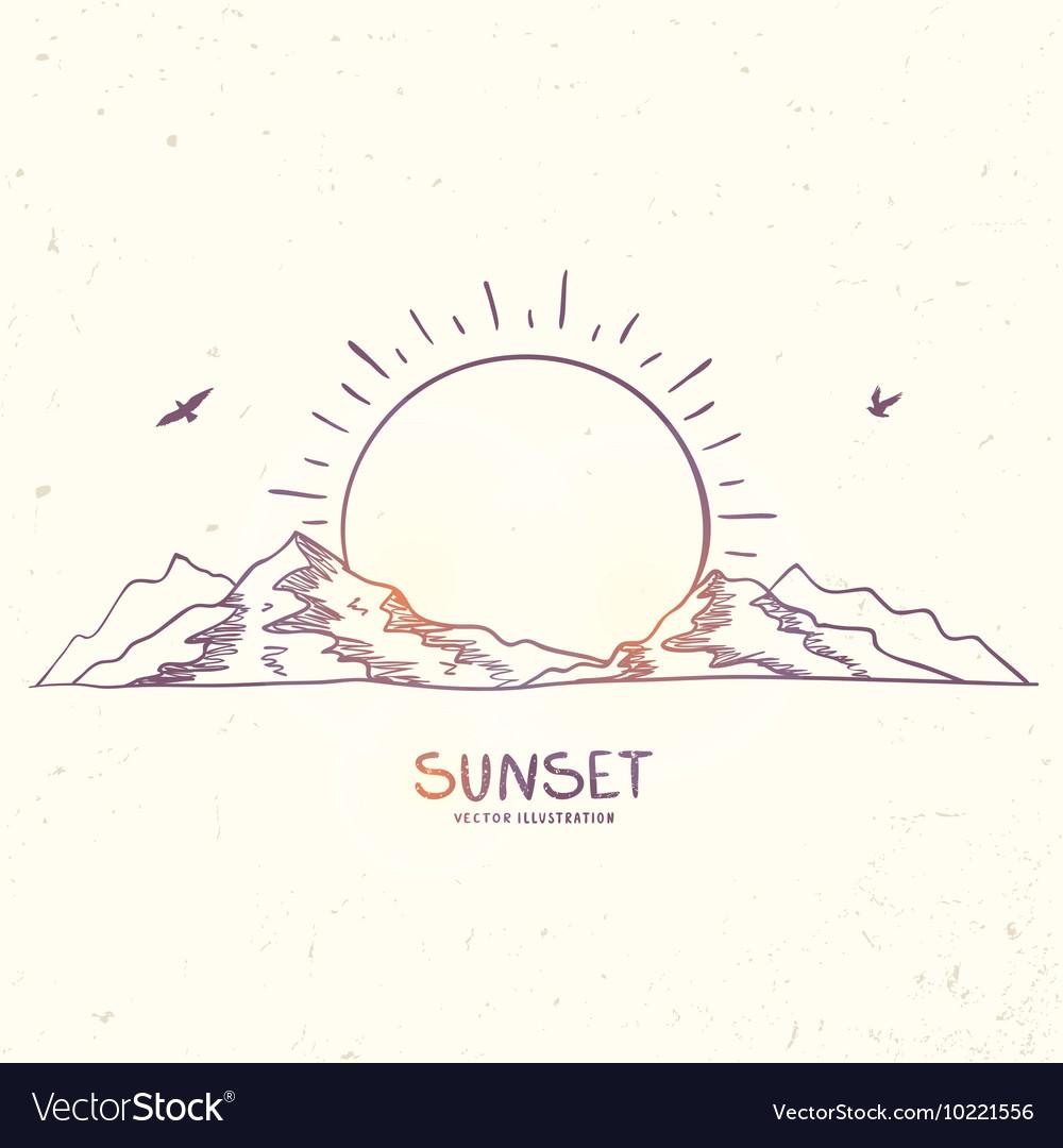 Mountain sunset doodle