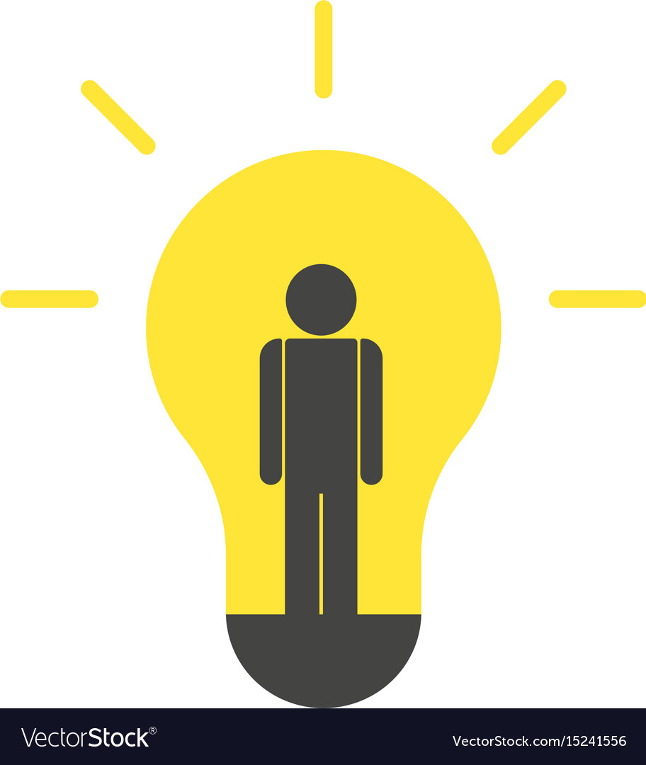 Person Idea And Light Bulb Vector Image