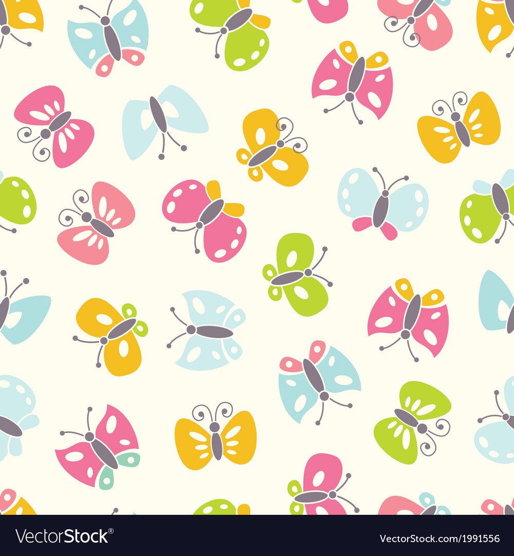 Seamless background with colorful butterfies