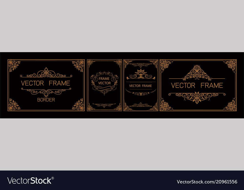 Set of gold certificate frame template with corner vector image