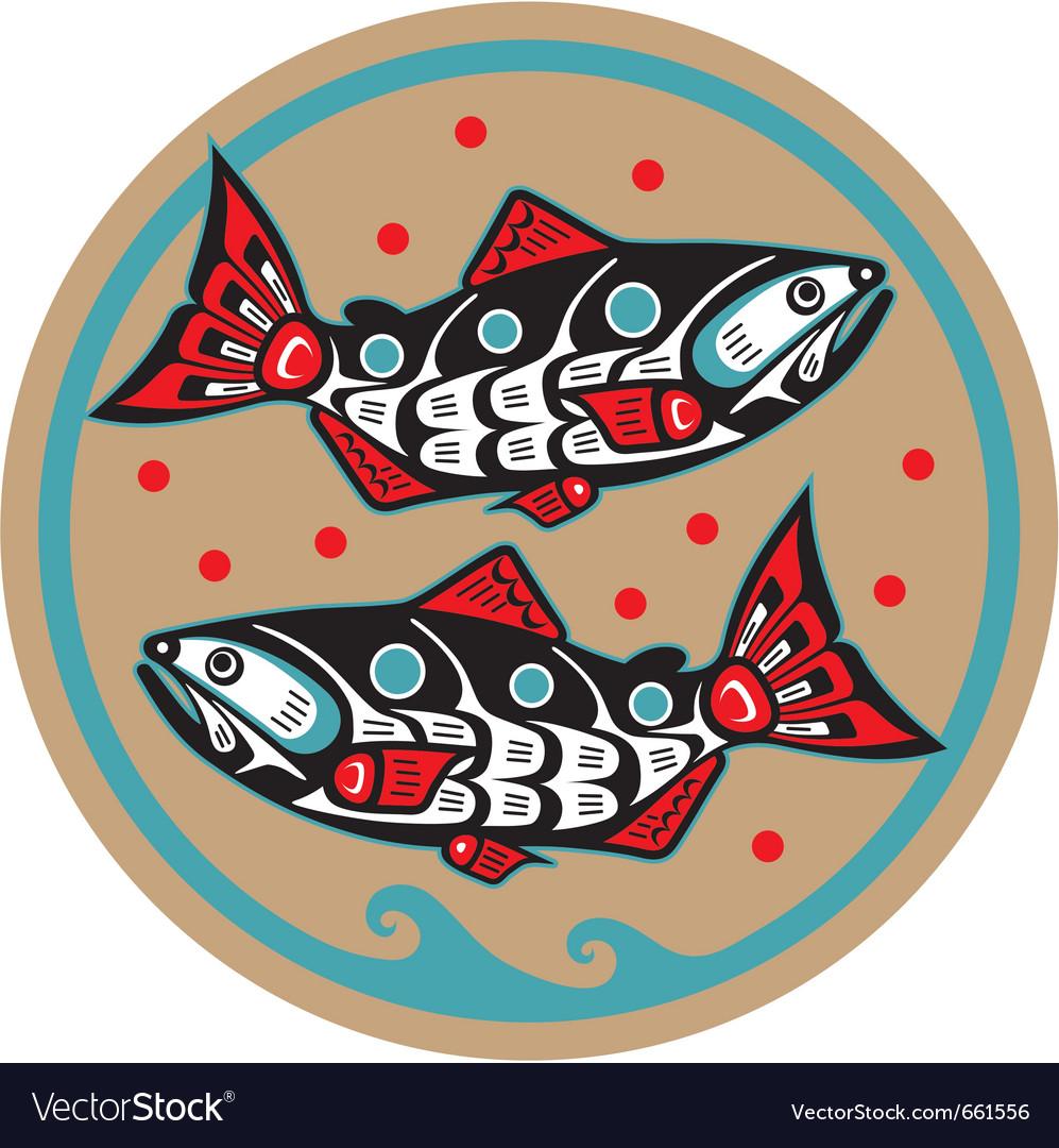 Spawning salmon - native american style