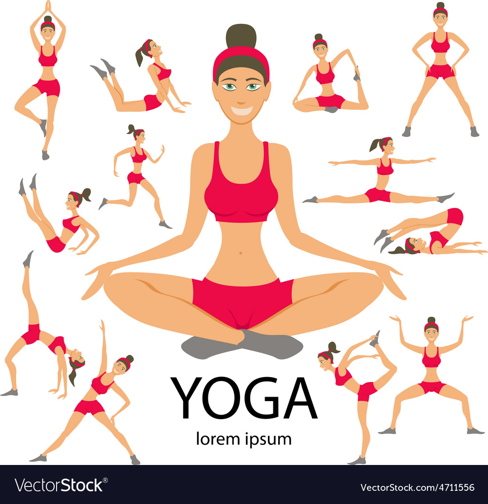 Yoga Set Women Sketch Asana Girl Healthy Lifestyle