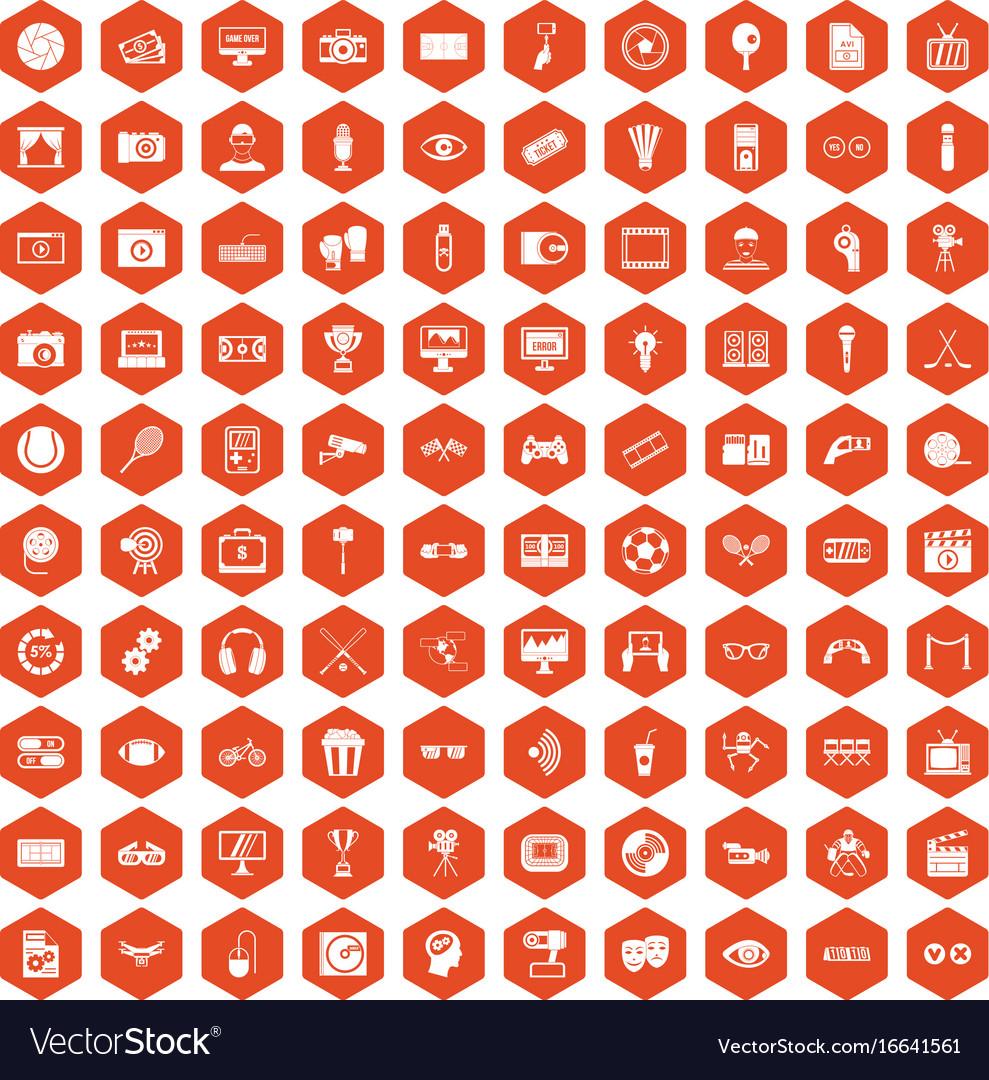100 video icons hexagon orange
