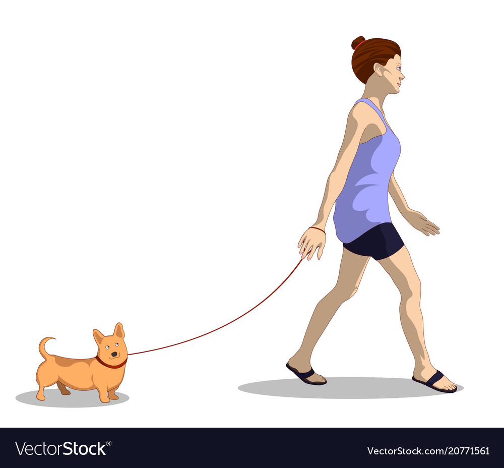 A woman in her home clothes walks a dog