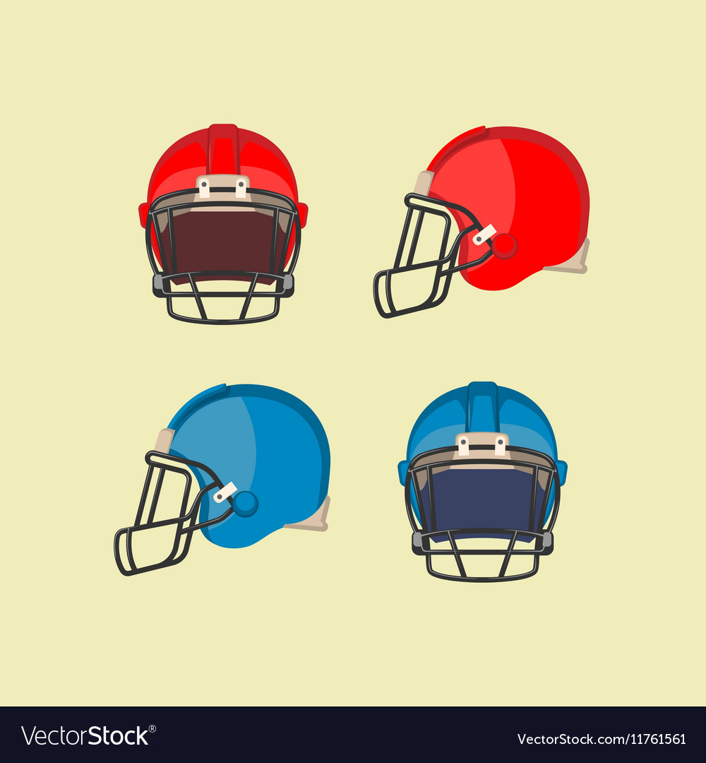 American Football Red Blue Helmets Front Side View