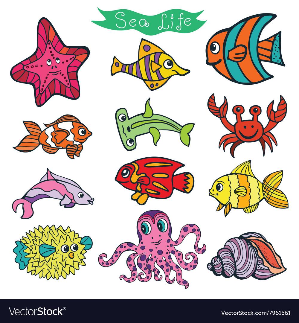 Cartoon Funny Fish Sea Life Colored Doodle