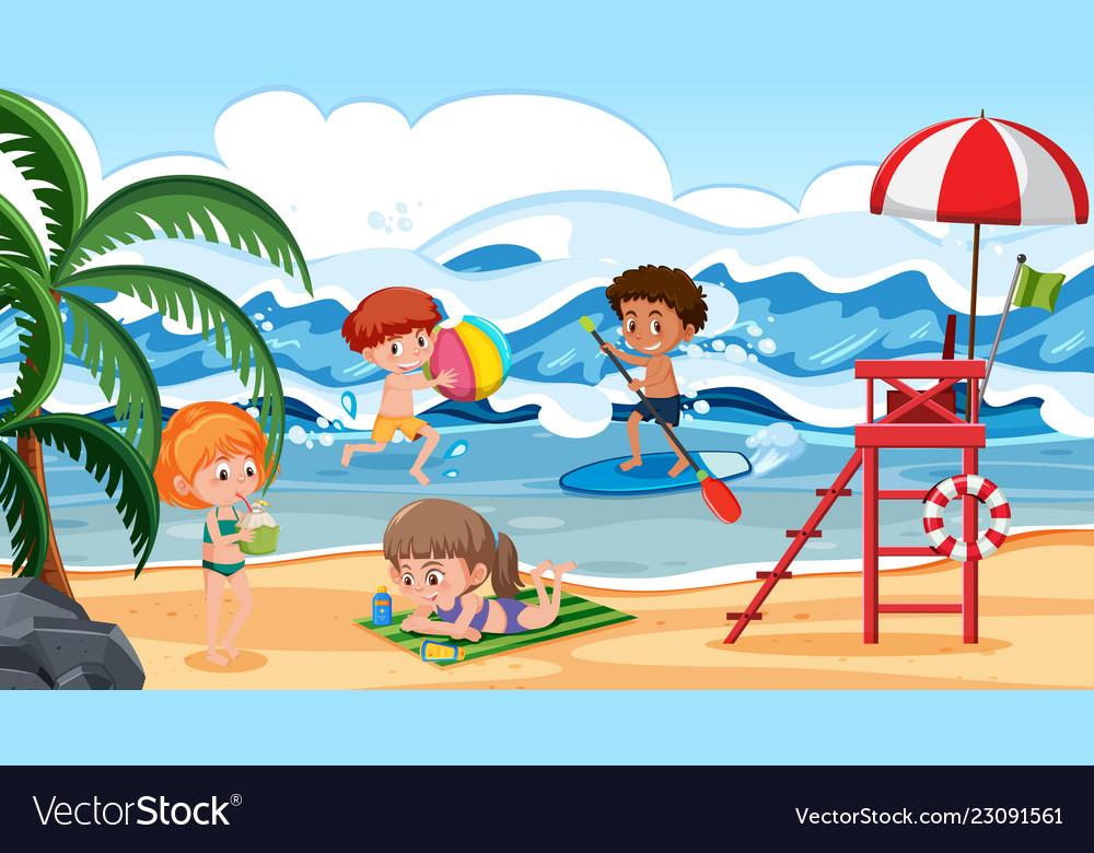 Children having fun on beach scene Royalty Free Vector Image