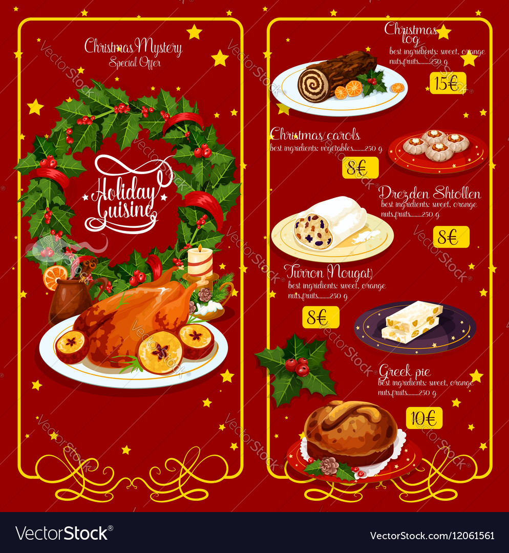 Christmas Menu.Christmas Dinner Menu Festive Template Design