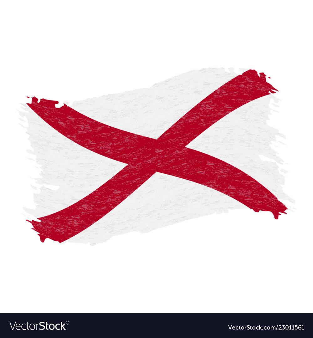 Flag of alabama grunge abstract brush stroke