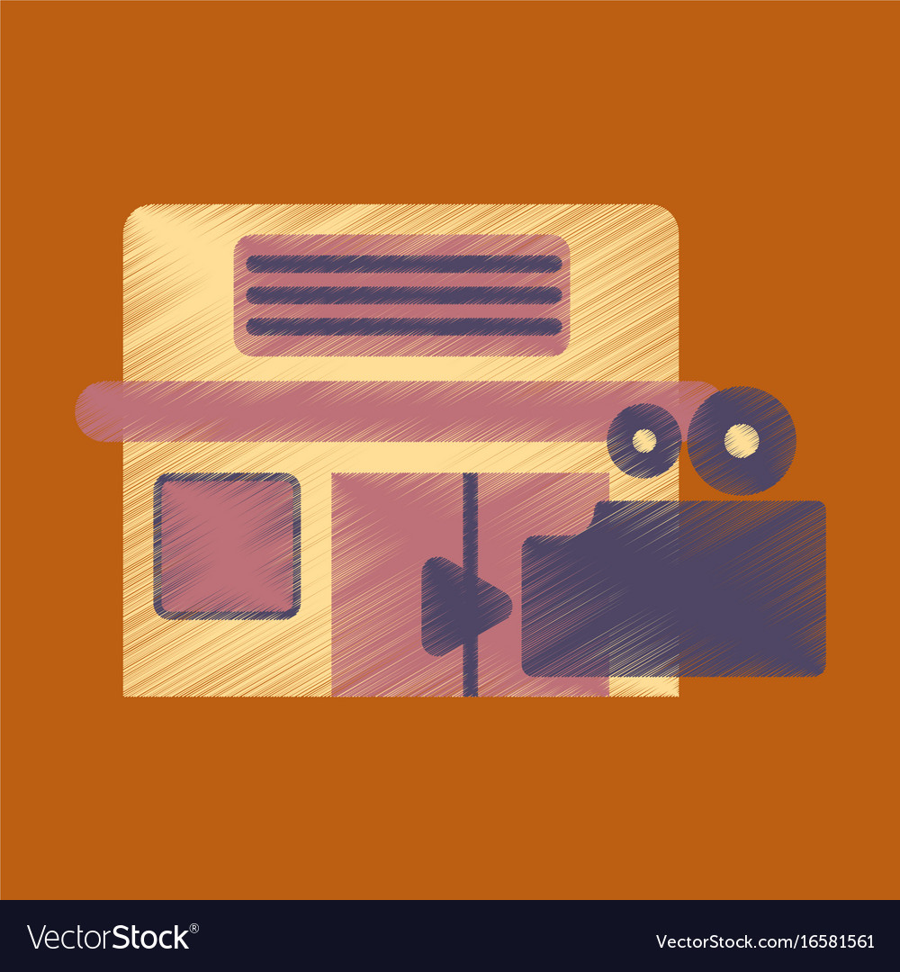 Flat icon in shading style building cinema camera