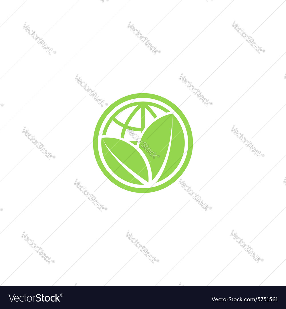 Green leafs and globe eco icon mockup save planet