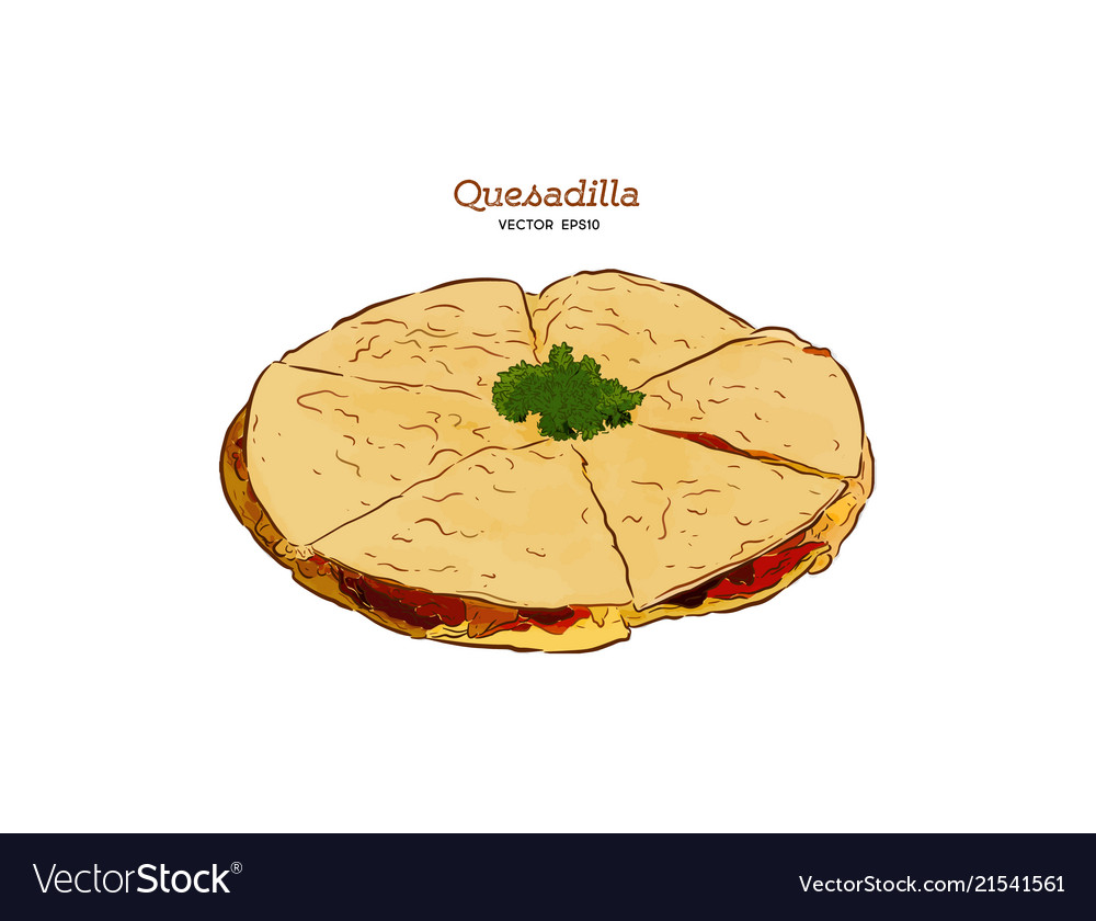 Hand drawn quesadilla mexican food sketch