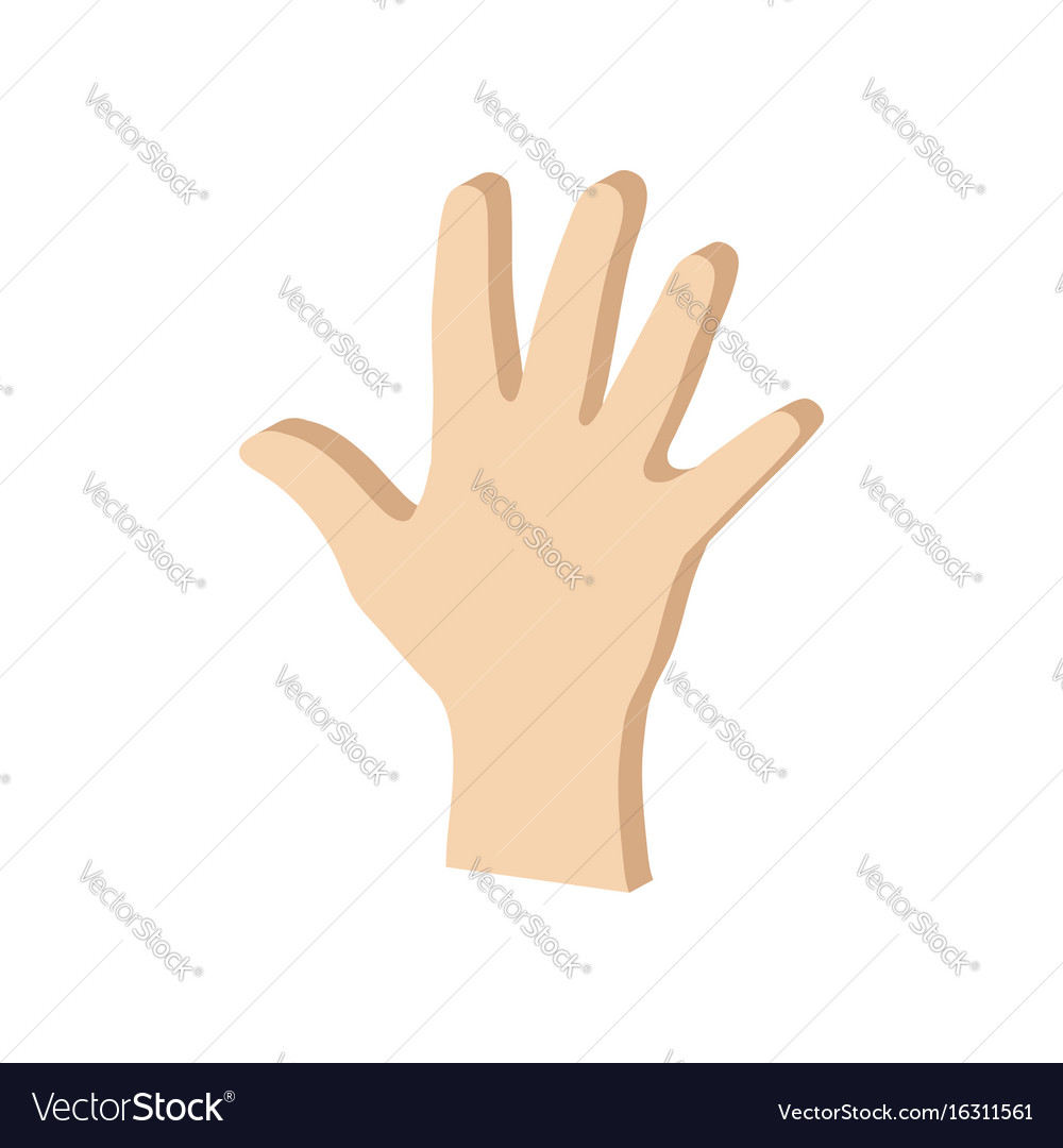 Hand Palm Symbol Flat Isometric Icon Or Logo 3d Vector Image