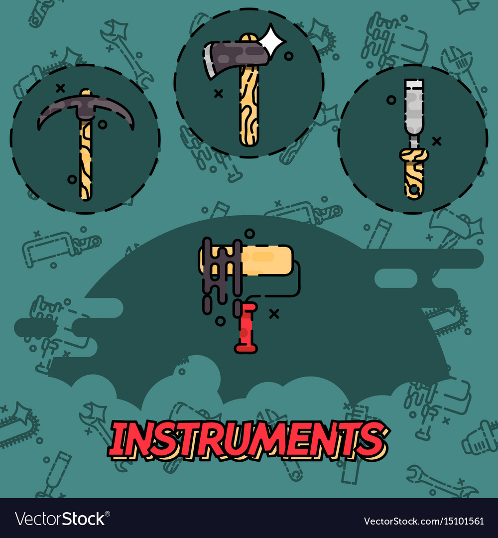 Instruments flat concept icons vector image