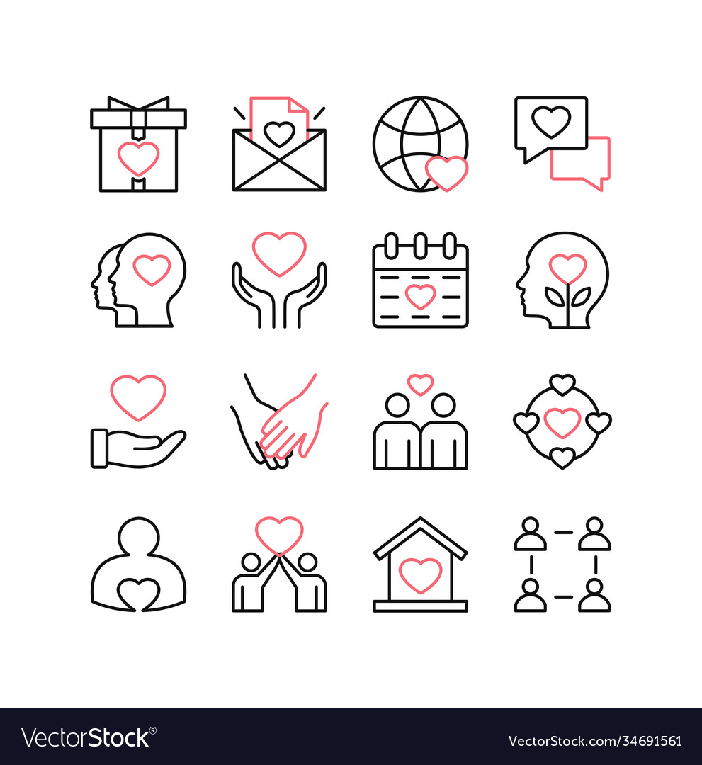 Love and relationships line icon set isolated on