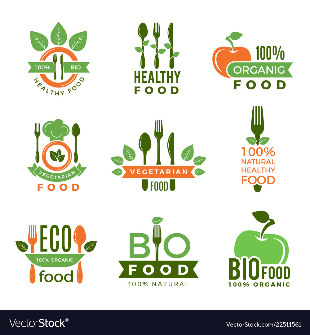 Organic Food Logo Eco Vegan Natural Health Vector Image