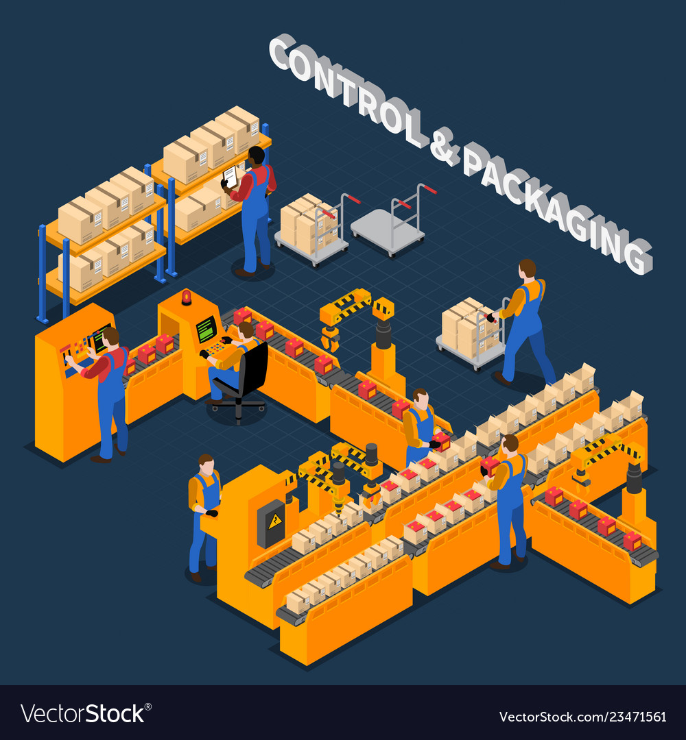 Packaging factory isometric composition
