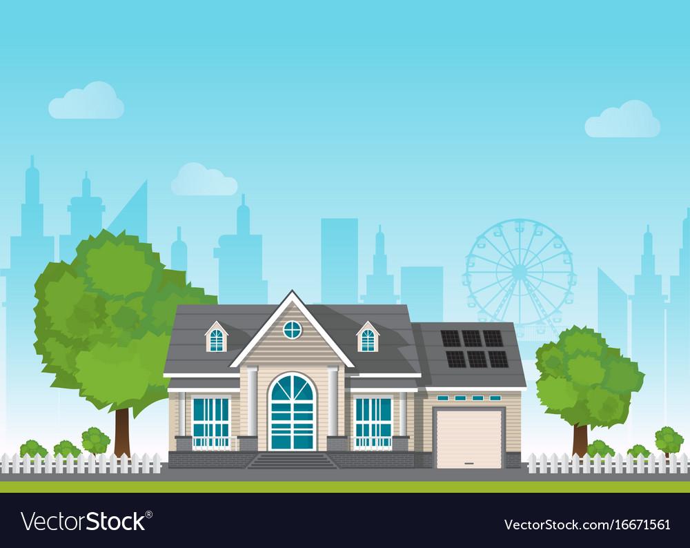 Private suburban smart home with sun solar module