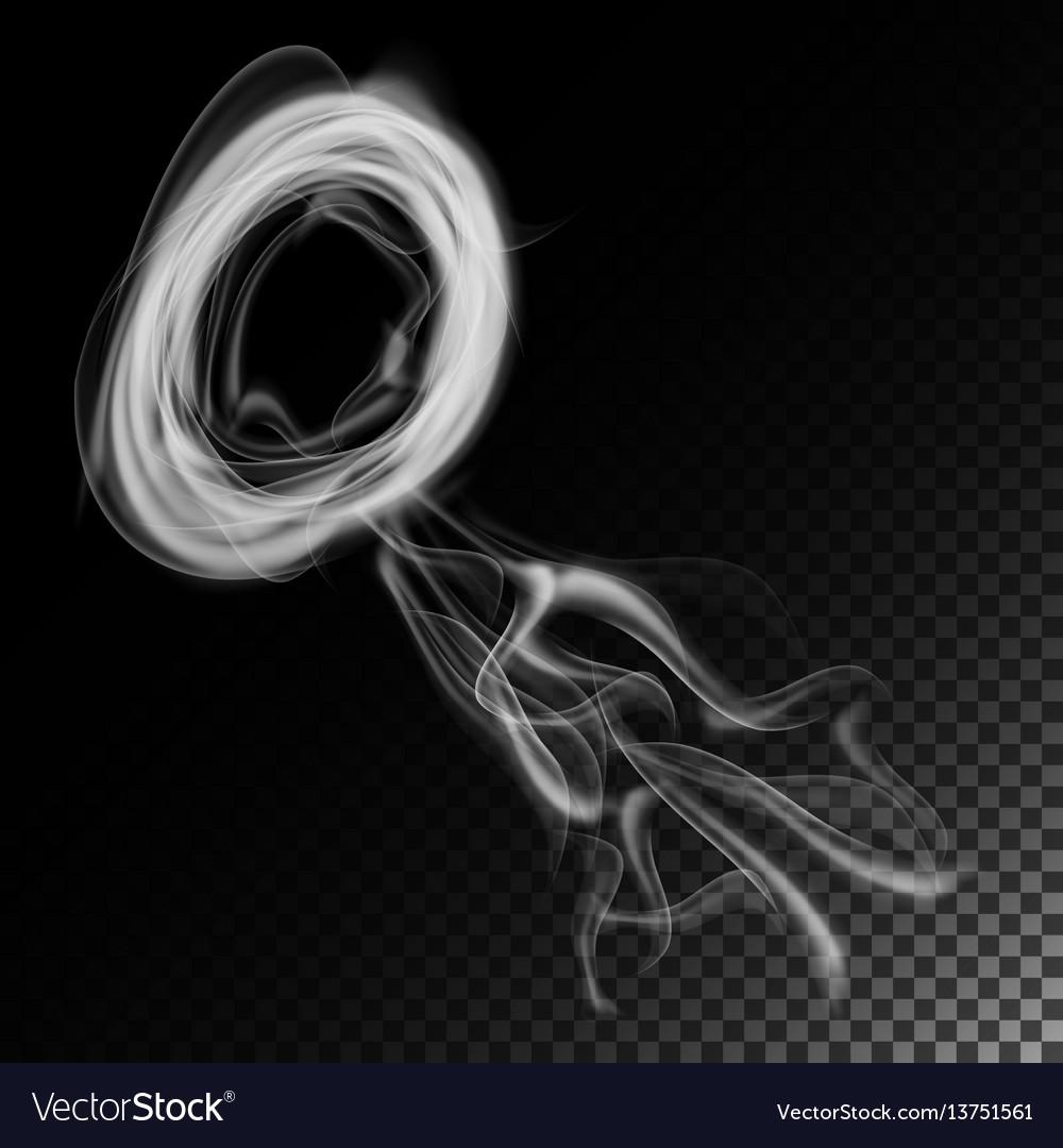 Realistic cigarette smoke waves white and